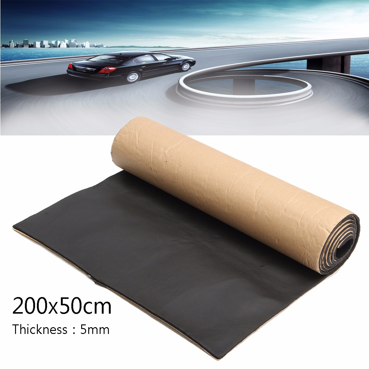 1Roll 200cmx50cm Car Sound Proofing Deadening Anti-noise Sound Insulation Cotton Heat Closed Cell Foam Interior Accessories image