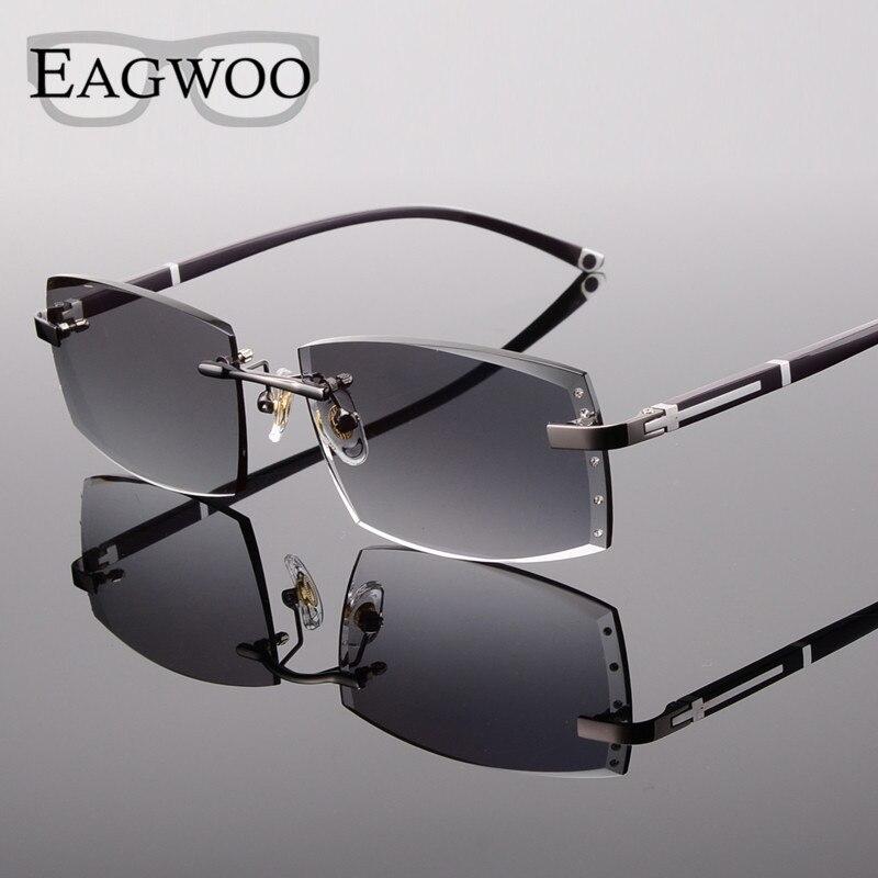 Alliage lunettes homme sans monture Prescription lecture myopie lunettes de soleil lunettes avec couleur teinté lentilles de Prescription 528065 - 2