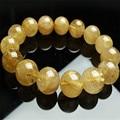15mm Genuine Natural Yellow Hair Titanium Rutilated Quartz Crystal Round Bea Fashion Jewelry Charm Stretch Bracelet Women