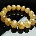 15mm genuine natural amarelo cabelo titanium cristal de quartzo rutilado rodada bea jóia charme estiramento pulseira mulheres