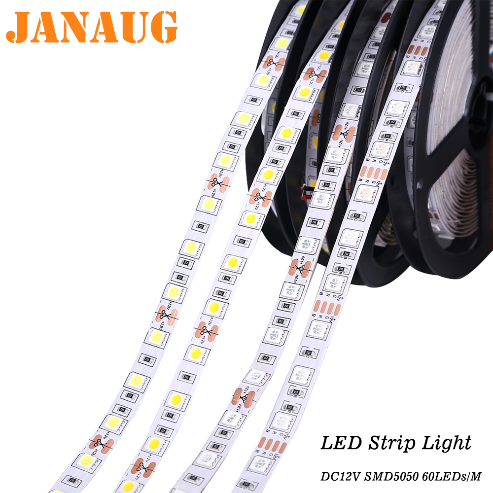 LED Strip Light 5050 RGB RGBW DC12V 60LEDs/m IP20 Non-waterproof Cuttable 1M, 2M, 3M, 4M, 5M Flexible LED Light Strip
