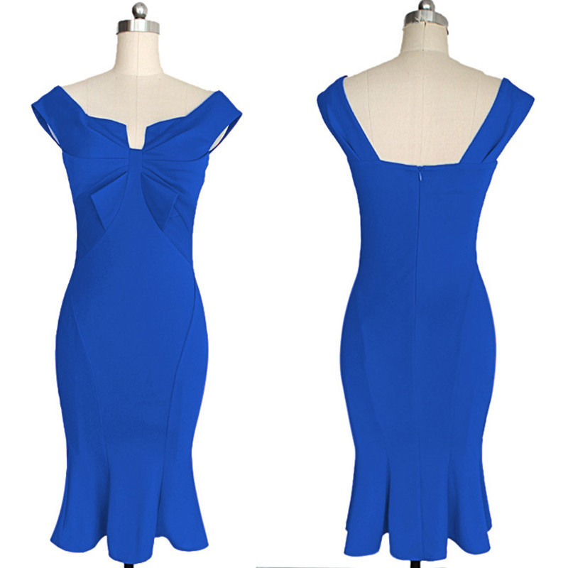 VEEKLE Sexy Mermaid Dress Off Shoulder Solid Women Summer Short Party  Bodycon Bridesmaid Off Shoulder Pencil Dresses Club Wear-in Dresses from  Women s ... 21db46bff697