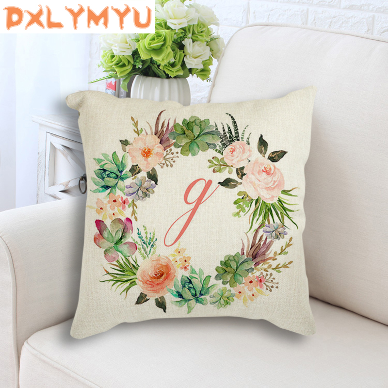 Kids Room Decoration Feather Pillow Linen Cotton Cushion Cover for Sofa Home Decor Flower Square Pillowcase 45x45cm Pillow Case in Cushion Cover from Home Garden