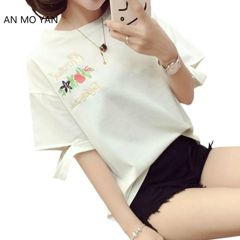 Rose Embroidery Harajuku Women's T-shirt 2018 Summer Fashion Broken Sleeve Bf Female Student Style Loose Clothes Sweet T-shirts