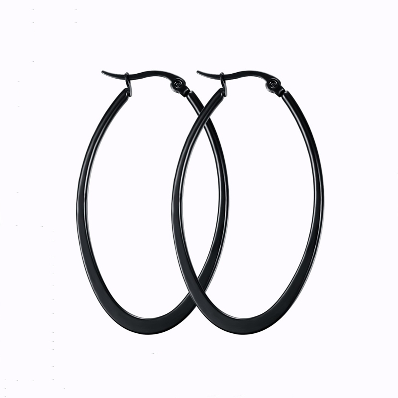 UALGL Huge Oval Paved Hyperbole Black color Fashion Girls Jewelry Stainless Steel Earrings For Women Party
