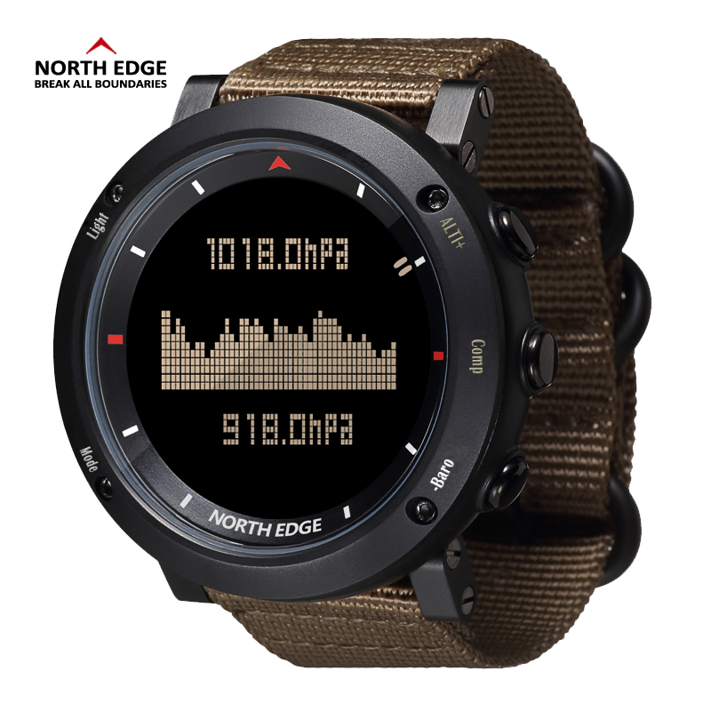 North Edge Digital Watch Waterproof Watches Stainless Steel Clock World Time Nylon Watch Band LED Watches Men Reloj Hombre Sport(China)