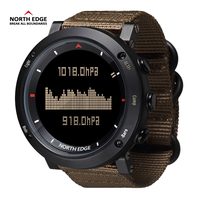 North Edge Digital Watch Waterproof Watches Stainless Steel Clock World Time Nylon Watch Band LED Watches Men reloj hombre Sport