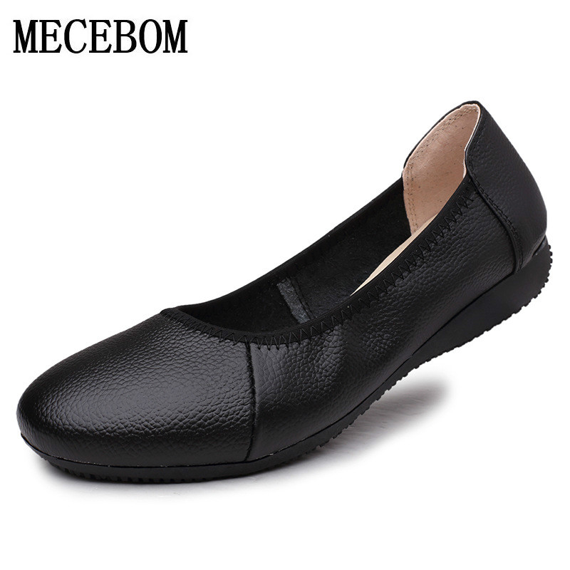 2017 Genuine Leather Ballet Flat Shoes Woman Round Toe Plus Solid Black Shallow Soft Office Work Pregnant Shoes Woman 1109W