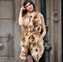 Free shipping new real/genuine fox fur vest  women's Winter natural fur jacket red fox fur coat