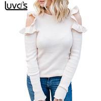 LUVCLS Women Autumn Elegant Slim Ruffles Strapless Blouse Tops Sexy Close Fitting Long Sleeve Blouse Beauty