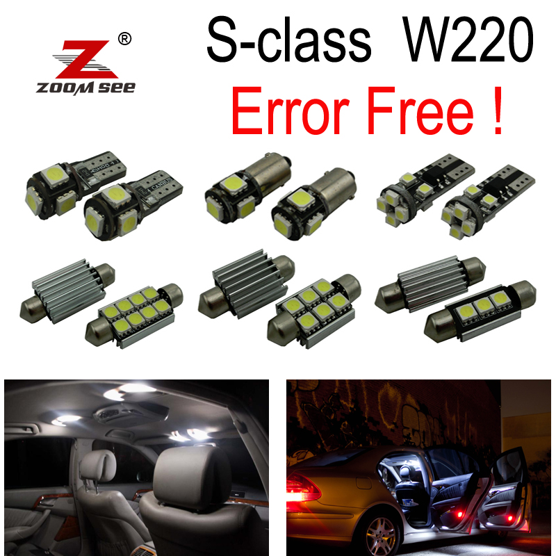 24pcs LED lamp Interior + License plate Light full Kit For Mercedes Benz S class W220 S500 S600 S55AMG S63AMG S65AMG (99-05)