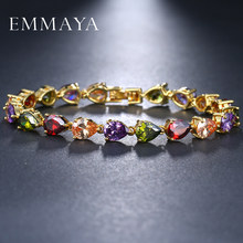 EMMAYA Fashion Multi Colors AAA CZ Crystal Chain Bracelet Gold-Color Jewelry For Women(China)