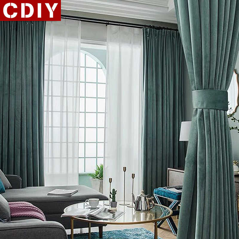 CDIY Luxury European Window Curtains For Bedroom Living Room Kitchen Thick Blackout Curtains For Window Solid Drapes Shading 80%