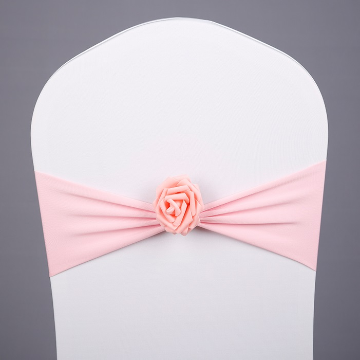 Pink Colour Spandex Chair Sash With Rose Ball Artifical Flower Ball Chair Cover Sash Lycra Stretch Fit All Chairs Wedding