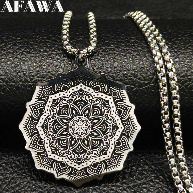 2019 Fashion Wicca Lotus Stainless Steel Chain Necklace for Men Silver Color Black Statement Necklace Jewelry bijuterias B18204