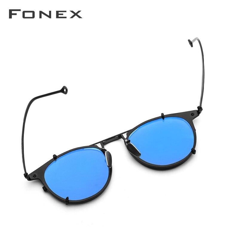 Image 5 - FONEX Pure Titanium Glasses Frame Men Clip on Polarized Sunglasses Prescription Eyeglasses Frame Women Round Optical Eyewear 502-in Women's Eyewear Frames from Apparel Accessories