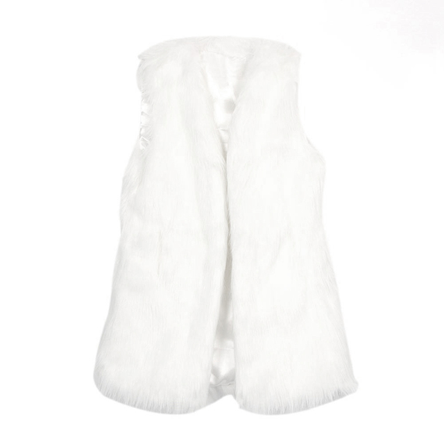 Women Vintage Trendy Faux Fur Gilet Vest Jacket Mid-long Outwear Waistcoat