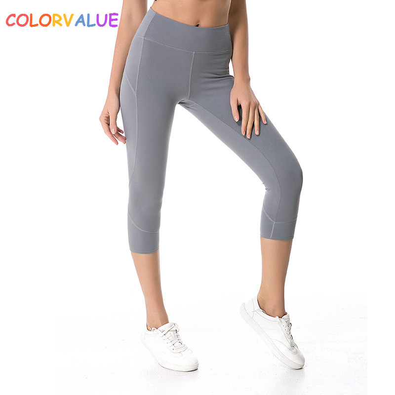 цена Colorvalue Stereoscopic Patchwork Yoga Capri Pants Women Flexible Nylon Fitness Sport Leggings Top Quality Plus Size Gym Tights