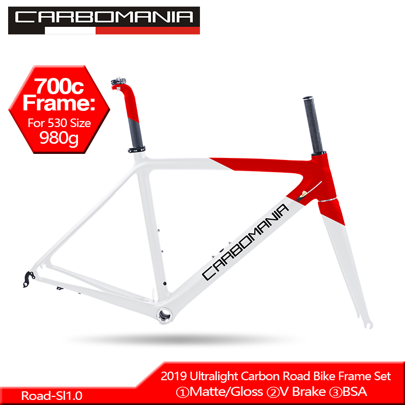 2019 Carbon Road Frame Ultralight 980g 700c Road Bike Frame Di2 Mechanical Road Cycling Race Bicycle Frame Set BSA 68mm V Brake2019 Carbon Road Frame Ultralight 980g 700c Road Bike Frame Di2 Mechanical Road Cycling Race Bicycle Frame Set BSA 68mm V Brake