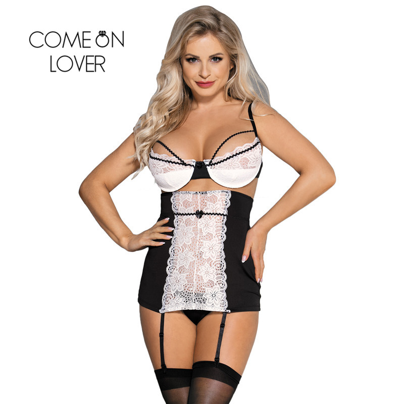 Comeonlover Nuisette Grande Taille Sexy Black And White Lace Porno Lingerie Dentelle Plus Size Sexy Lingerie Sleepwear RI80427 1