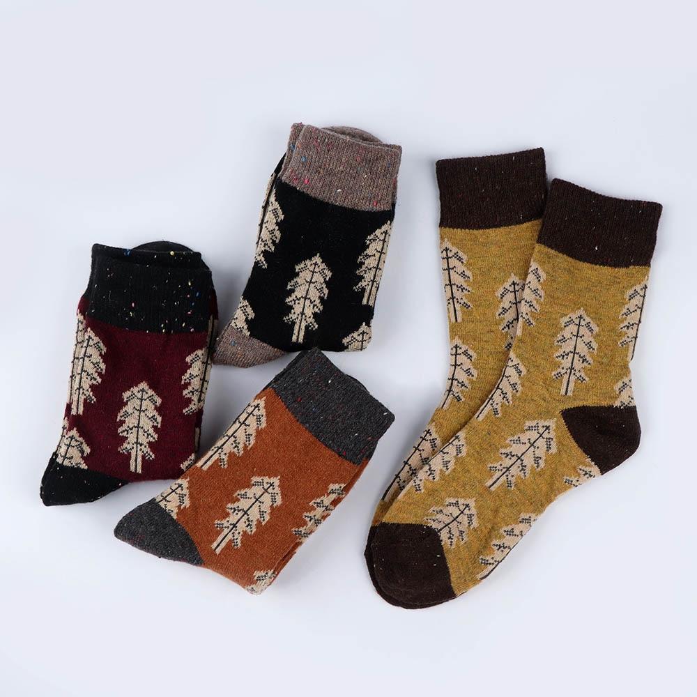 1 Pair Fashion Casual Cartoon Christmas Tree Lady Wool Socks Thick Warm Autumn Winter Cotton Soft Socks