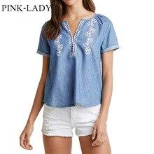 2016 Summer T shirt font b Women s b font Loose Embroidery V Neck Denim T