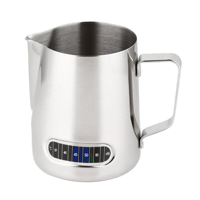 Süt köpürtme sürahisi, paslanmaz çelik kremalı Frothing Jug 20oz termometre ile etiket, Espresso makineleri, Latte sanat