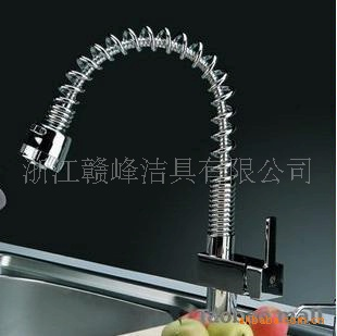 Full pull-out kitchen faucet copper hot and cold vegetables basin sink faucet nozzle spring dual water model