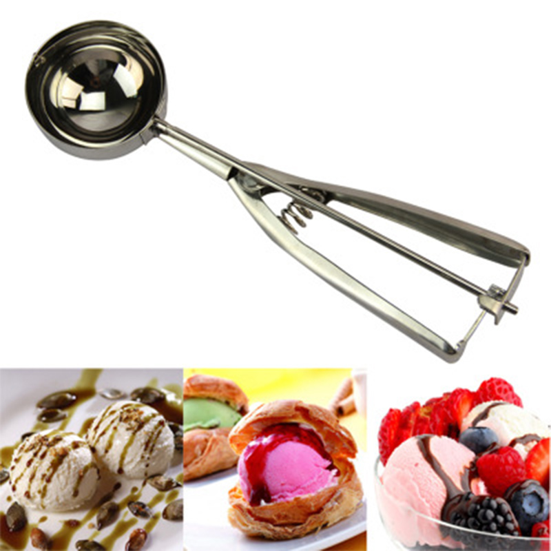 Stainless Steel Ice Cream Scoop Spoon Ice Cream Scoops Stacks Mash Potato Watermelon Spring Handle Spoon Scoop Kitchen Tools