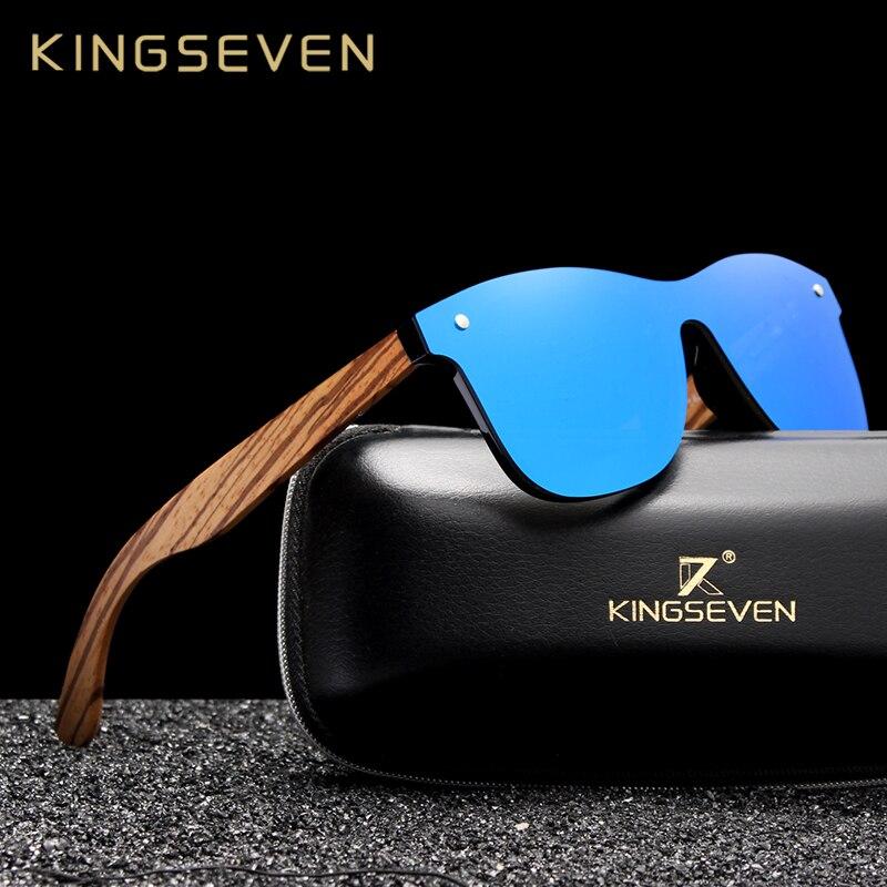 King seven óculos de madeira masculino, óculos de sol feito à mão espelhado e polarizado, feito à mão, vintage uv400 2019