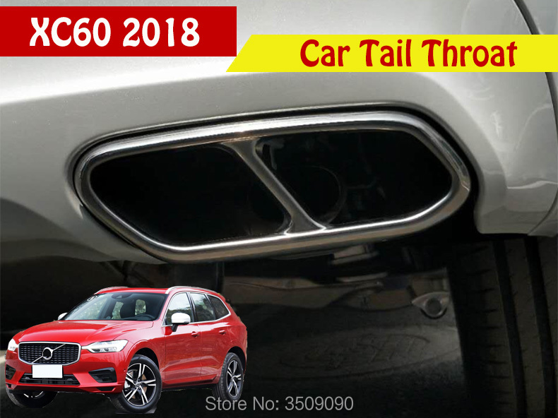 цена на For Volvo 2018 XC60 Car styling Tail Throat Exhaust Pipe Tail Pipe Car Exhaust Pipe Cover Muffler Tip Auto Accessories