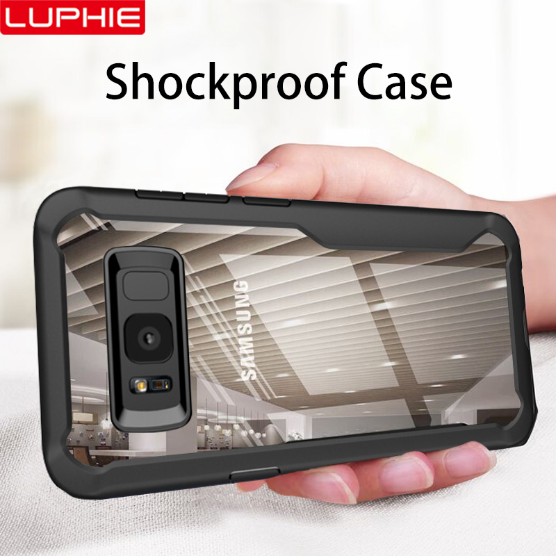 LUPHIE Shockproof Case For Samsung Galaxy S10 S9 S8 Plus Note 8 9 Transparent Case Cover For Samsung A8 A6 Plus 2018 Armor Case