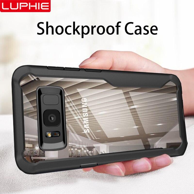 LUPHIE противоударный чехол для samsung Galaxy S10 S9 S8 Plus Note 8 9 прозрачный чехол для samsung A8 A6 плюс 2018 бронированный чехол для телефона
