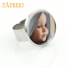 TAFREE Personalized Custom Ring Photo Of Your Mum Dad Baby Children Metal Rings DIY Adjustable Jewelry High Quality