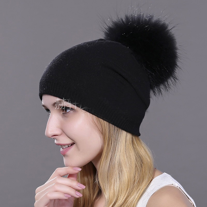 HEE GRAND/женская шапка, зимние вязаные шапки унисекс из шерсти енота, шапки с перьями для мужчин, меховая шапка куполообразная, Прямая поставка PMT089 - Цвет: Color-3