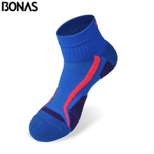 Bonas CoolMax Polyester Quick Dry Short Socks Men's Colorful Casual Male Cotton Socks Breathable Fashion Brand Socks