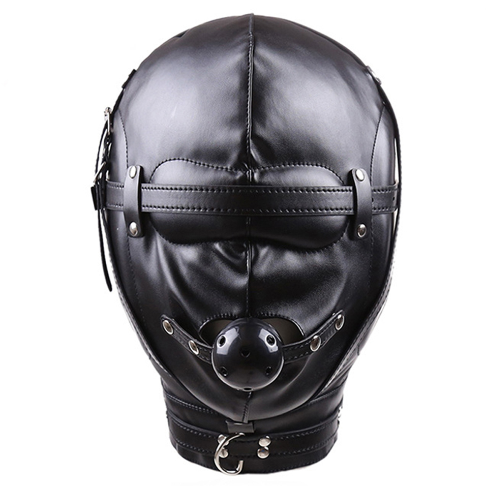 camaTech PU Leather Headgear Hood With Ball Gag Fetish Mouth Stuffed Full Head Bondage Mask Harness Slave Adult Game For Couples