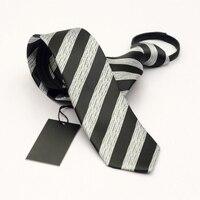 Siyah Gri Çizgili Fermuar Kravat 6 cm Tembel Kravat Kolay Çekme erkek Ticari Resmi Takım Elbise Düğün Kravatlar Ince Cravate Gravatas
