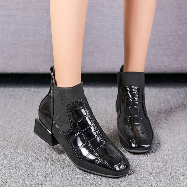 84fb5ffdebc US $17.49 25% OFF|2018 Shiny Leather Women Boots Warm Plush Winter Shoes  Woman Low Heel Chelsea Boots Ankle Botines Black Botas Mujer Plus Size  42-in ...