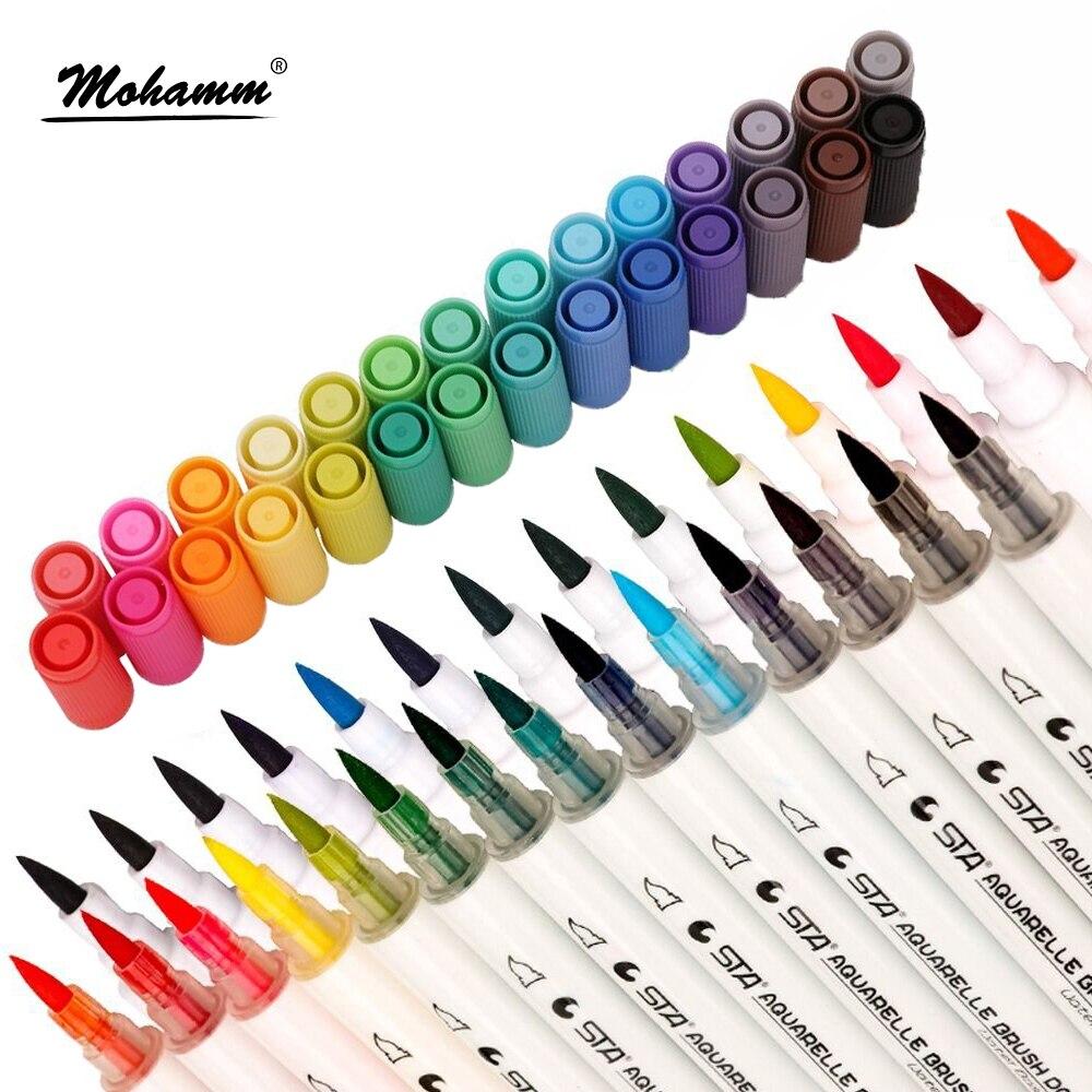 28 colores surtidos doble punta acuarela marcadores tono doble Marcadores del bosquejo para adultos niños diseño Bullet Journal