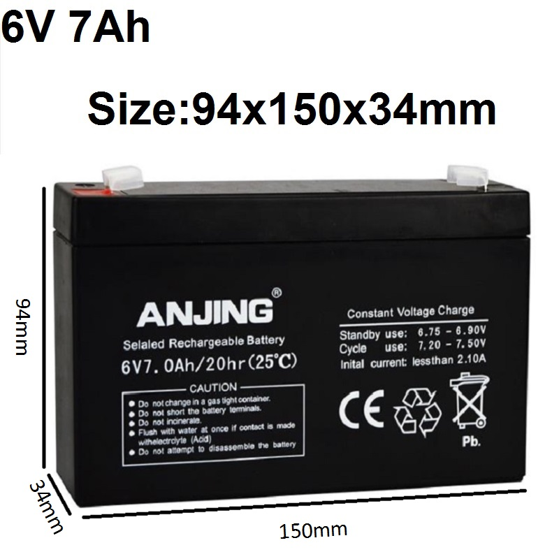 6V 7AH Rechargeable Batteries Lead Acid Storage Batteries for Children's Electronic Toy Car Desk Lamp LED Light Device