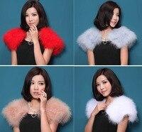 Ifur New Women S Real Genuine Soft Ostrich Fur Small Wedding Cape Poncho Stole Shawl Pashmina