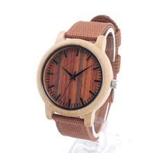 BOBO D10 de AVES De Madera Redonda Relojes Para Hombre de Primeras Marcas de Lujo Reloj de pulsera de Cuarzo con Correa de Nylon de madeira del relogio