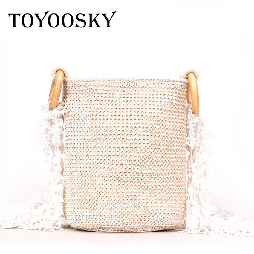 TOYOOSKY Bohemia Style Womens Summer Beach Bags New 2018 Straw Shoulder Bags INS Popular Lace Strap Ladies Crossbody Bags