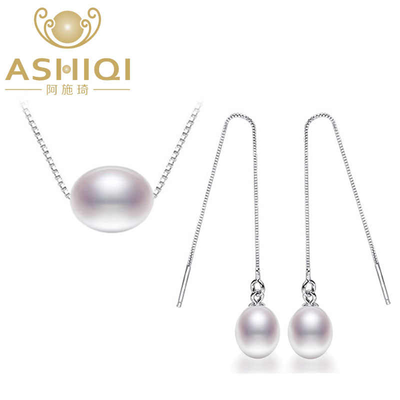 ASHIQI 925 Sterling Silver Jewelry Set Freshwater Pearl Necklaces Earrings 7-8mm Rice Natural Pearls for women