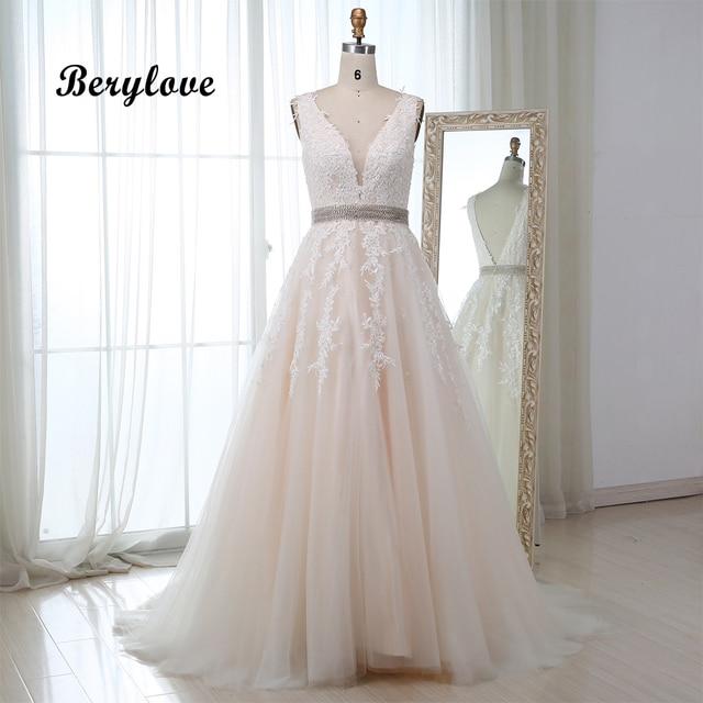 BeryLove Longo Champagne Vestido De Noite 2018 Rendas Frisado Vestidos de Noite Formais Vestidos de Noite Das Mulheres Vestidos de Baile Fotos Reais