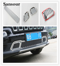 ABS Car Styling Front Bumper Decorative Trim Grille Fences Strip Exterior Accessories 3D stickers for Jeep Cherokee 2014 up