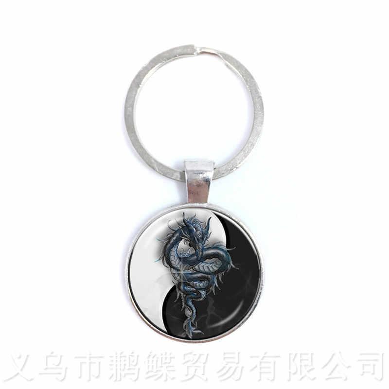 O Fogo E Gelo Vidro Chaveiro Símbolo Yin Yang Pingente Jóia Natural Rústico Estilo Boho Simbolizando A Harmonia Trazer Boa Sorte