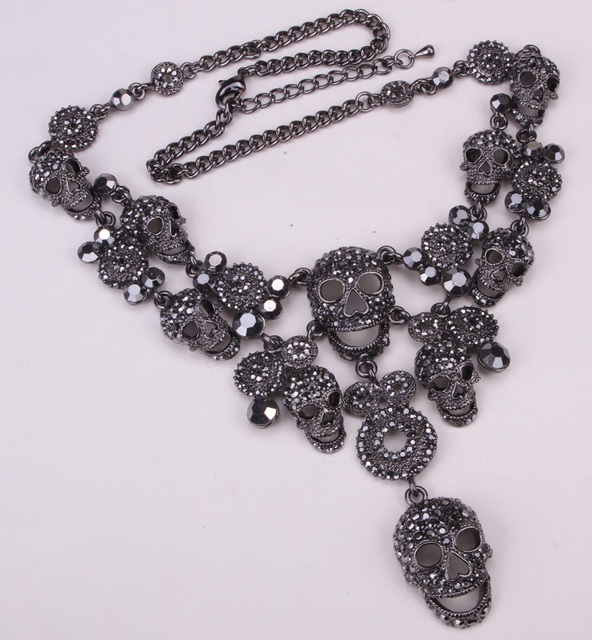 Skull chocker necklace women biker bling jewelry gifts W/ crystal antique silver plated NM05 wholesale dropshipping