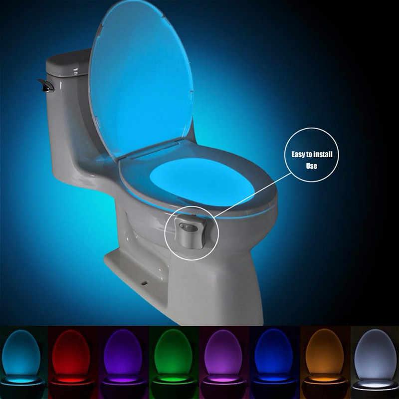 Inteligentny czujnik ruchu PIR deska klozetowa lampka nocna 8 kolory wodoodporna podświetlenie do muszli klozetowej LED kostium lampa WC oświetlenie toalety